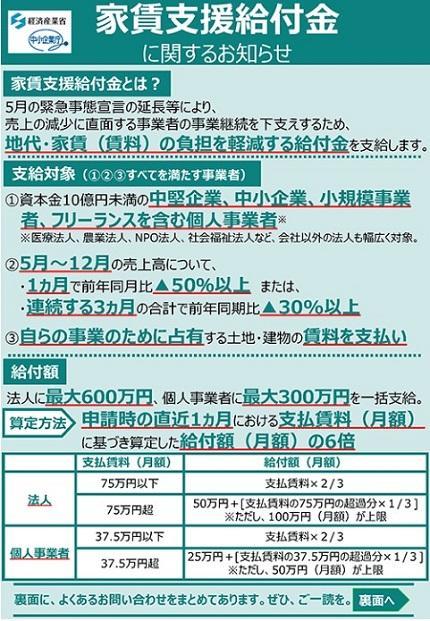 実績 支援 家賃 給付 書 証明 金 支払 家賃支援給付金に関するお知らせ (METI/経済産業省)